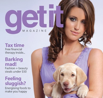 Get it Magazine cover shoot with Seeing Eye Dogs Australia