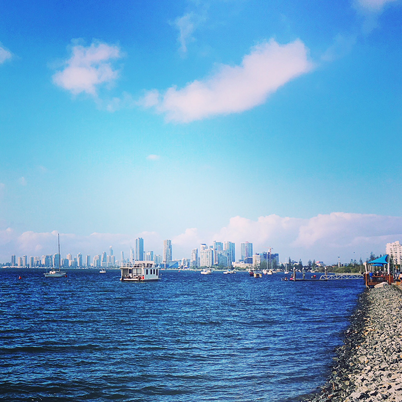 Brisbane to Gold Coast – along the waterfront coming into Surfers Paradise Gold Coast