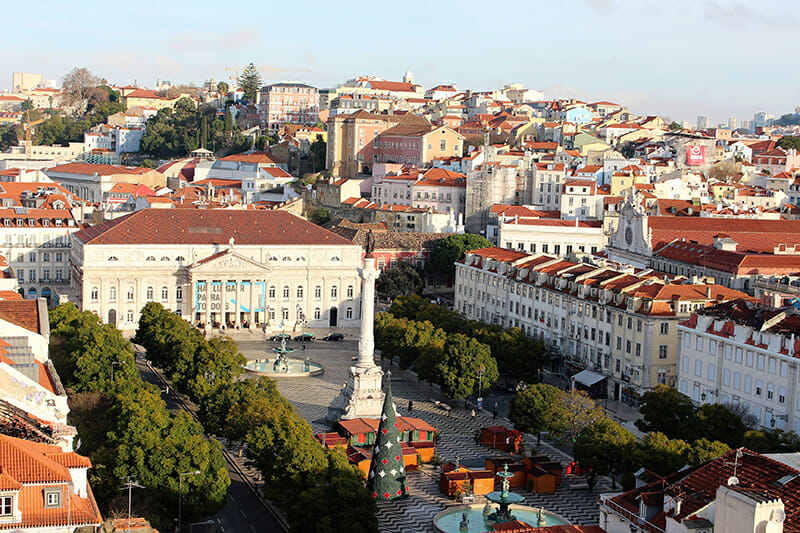 3 days in Lisbon - overlooking Rossio Square from Santa Justa Lift