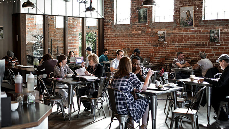 a coworking cafe needs just the right amount of buzz