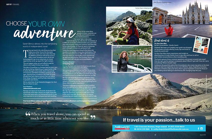 Lone travel magazine feature - Get it Magazine
