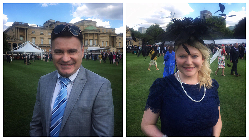 Buckingham palace garden party Sarah Blinco and Cooper Dawson